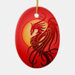 Phoenix tribal roja ornamentos para reyes magos