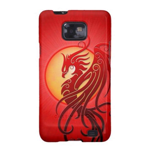 Phoenix tribal roja samsung galaxy SII carcasa