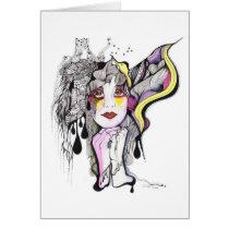 artsprojekt, drawing, phoenix, fenix, woman, bird, portrait, artistic, inspiring, creative, mujer, women, girl, fantasy, wings, Card with custom graphic design