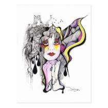 artsprojekt, drawing, phoenix, fenix, woman, bird, portrait, artistic, inspiring, creative, mujer, women, girl, fantasy, wings, Postcard with custom graphic design