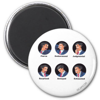 Phoenix Wright Emoticons 2 Inch Round Magnet