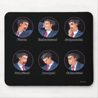 Phoenix Wright Emoticons Mouse Pad