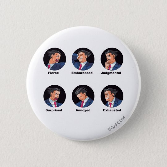 Phoenix Wright Emoticons Pinback Button