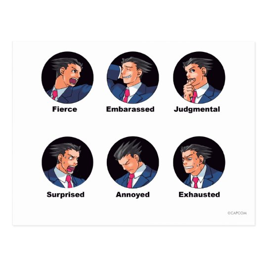 Phoenix Wright Emoticons Postcard