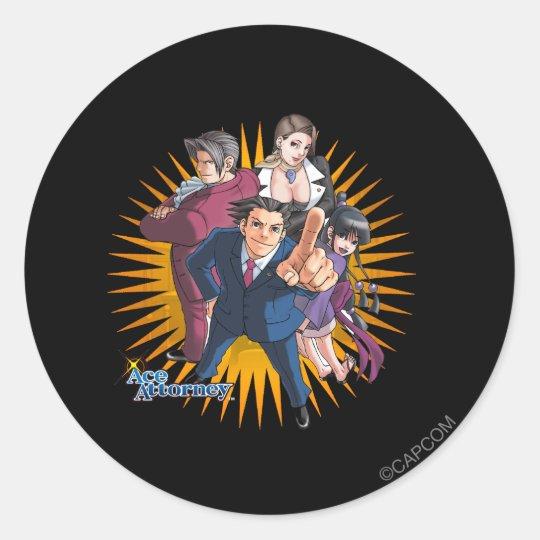 Phoenix Wright Key Art Classic Round Sticker