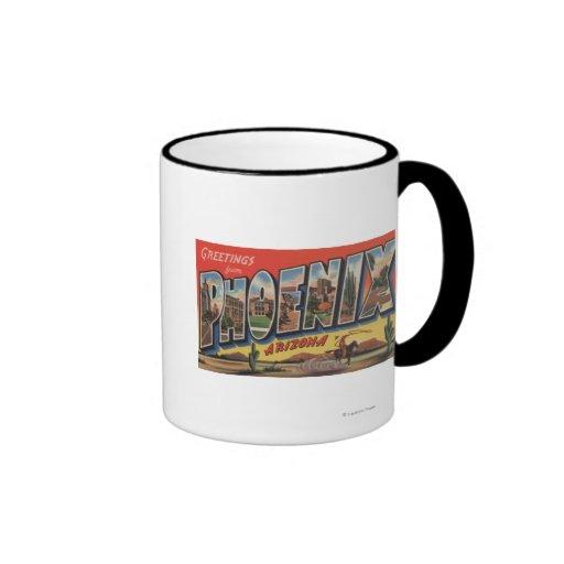 Phoeniz, Arizona - Large Letter Scenes Ringer Coffee Mug