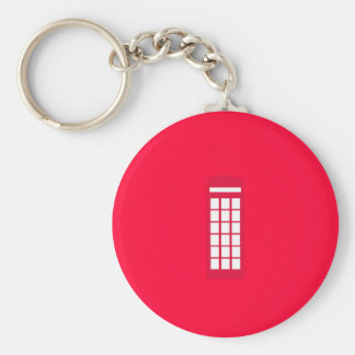 phone booth basic round button keychain