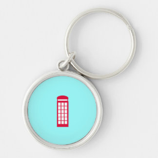 phone booth Silver-Colored round keychain