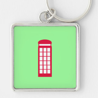 phone booth Silver-Colored square keychain