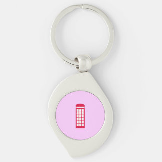 phone booth Silver-Colored swirl metal keychain