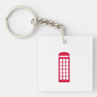 phone booth Single-Sided square acrylic keychain