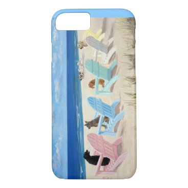 Beach Themed Phone case with dogs on deck chairs