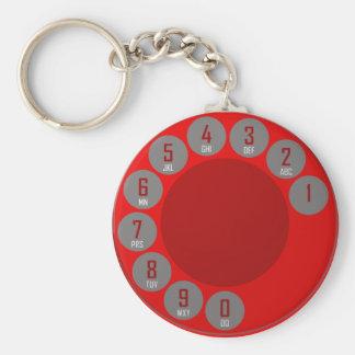 phone dial keyring basic round button keychain