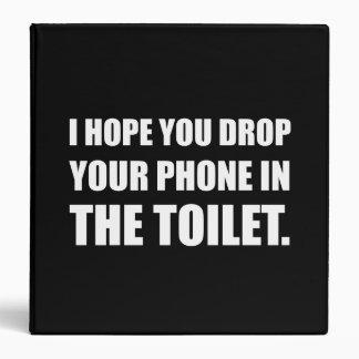 Phone Falls In Toilet 3 Ring Binder