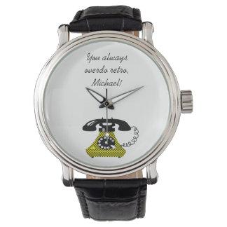 Phone Funny Vintage Cartoon Retro Chic Stylish Wristwatch