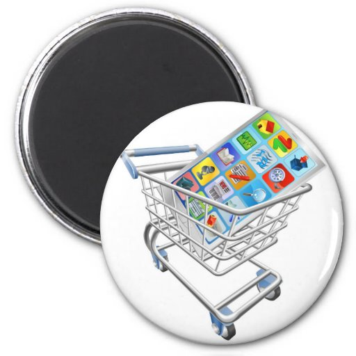 Phone in shopping cart magnets