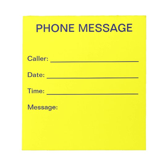 Phone Message Notepad (Bright Yellow)