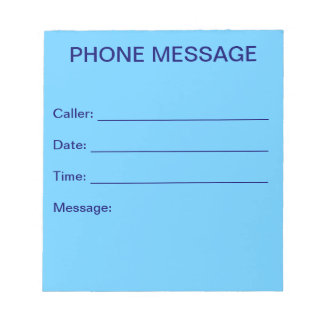 Phone Message Notepad (Sky Blue) Note Pad