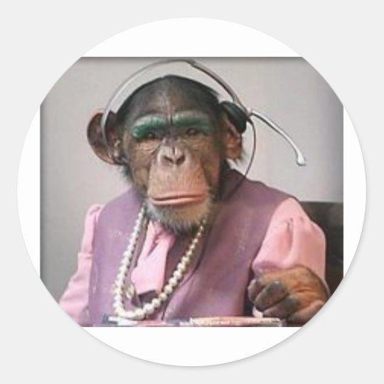 phone monkey classic round sticker