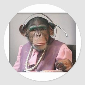 phone monkey round stickers