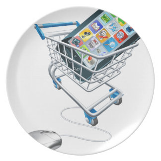 Phone mouse trolley concept dinner plate
