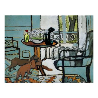 Phone Table, and Dachshunds Matisse Style
