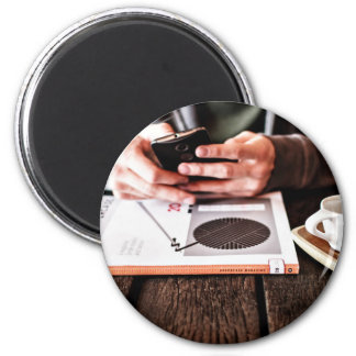 Phone Themed, A Man Sitting In A Resturant During 2 Inch Round Magnet