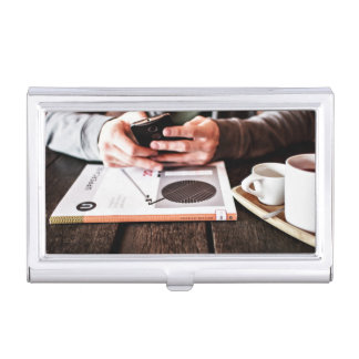 Phone Themed, A Man Sitting In A Resturant During Business Card Holder