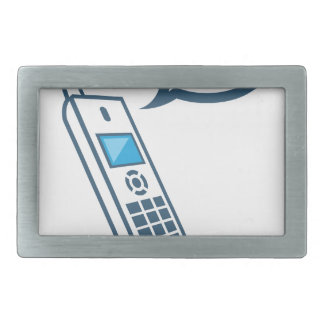 Phone with a bubble and dots waiting belt buckle