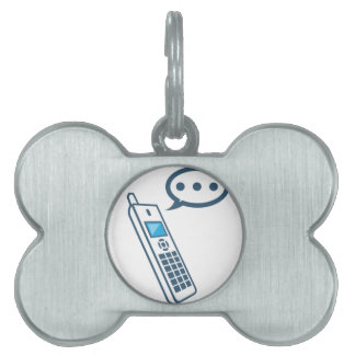 Phone with a bubble and dots waiting pet ID tag