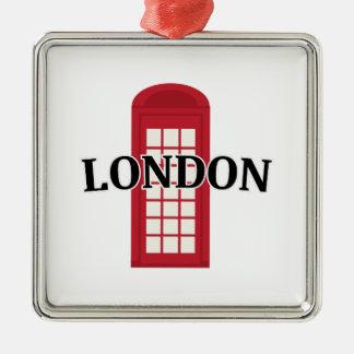 Phonebooth_London Adorno Cuadrado Plateado