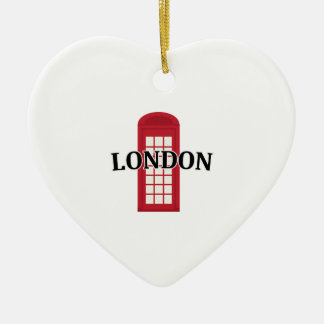 Phonebooth_London Adorno De Cerámica En Forma De Corazón