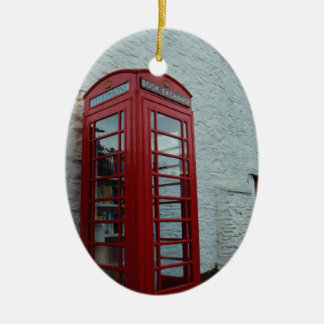Phonebox Book Exchange Double-Sided Oval Ceramic Christmas Ornament