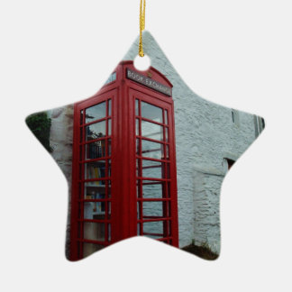 Phonebox Book Exchange Double-Sided Star Ceramic Christmas Ornament