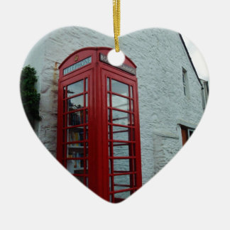 Phonebox Book Exchange Double-Sided Heart Ceramic Christmas Ornament