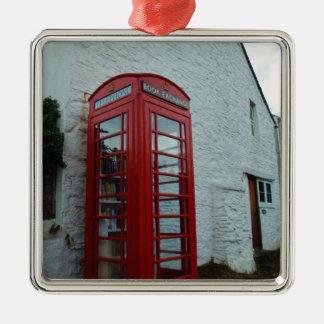 Phonebox Book Exchange Square Metal Christmas Ornament