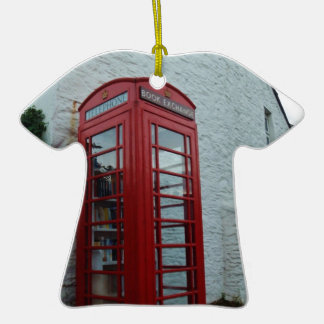 Phonebox Book Exchange Double-Sided T-Shirt Ceramic Christmas Ornament