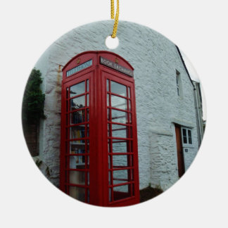 Phonebox Book Exchange Double-Sided Ceramic Round Christmas Ornament