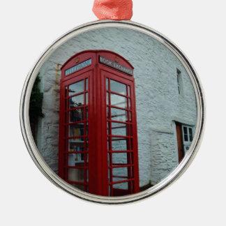 Phonebox Book Exchange Round Metal Christmas Ornament