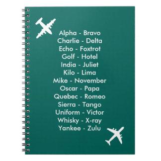 Phonetic Alphabet Airplane Blue Air Cadet Notebook