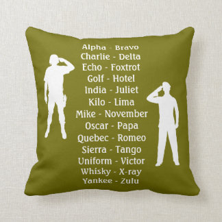 Phonetic Alphabet Army Military Camouflage Throw Pillow