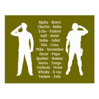 Phonetic Alphabet Army Military Recruit Cadet Postcard