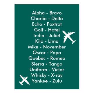 Phonetic Alphabet Aviation Plane Spotters Aero Postcard