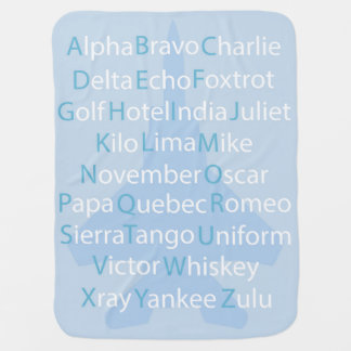 Phonetic Alphabet, Aviation Throw PIllow Swaddle Blanket