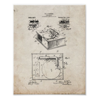 Phonograph Patent - Old Look Poster