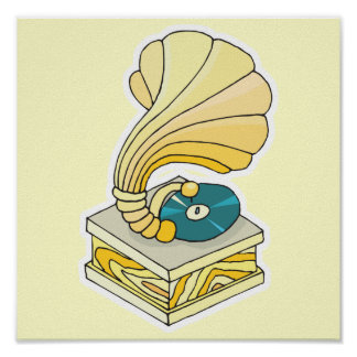 phonograph record player poster