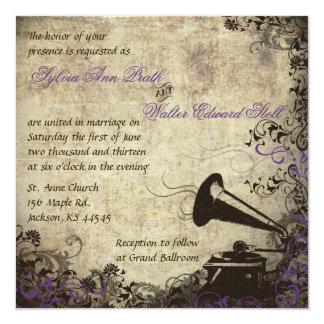 """Phonograph Vintage Wedding Invitation Purple 5.25"""" Square Invitation Card"""