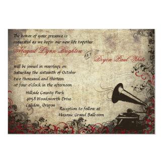 "Phonograph Vintage Wedding Invitation Red 5"" X 7"" Invitation Card"