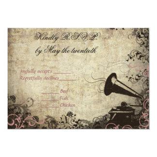 "Phonograph Vintage Wedding RSVP Invitation PINK 5"" X 7"" Invitation Card"