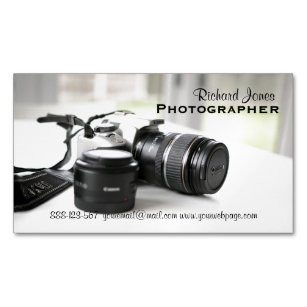 Camera lens business cards zazzle photagraphy photographer camera lens magnetic business card colourmoves